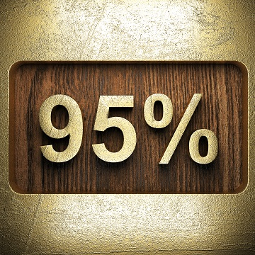 golden percentage on wooden wall