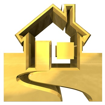 House Icon in gold - 3d made